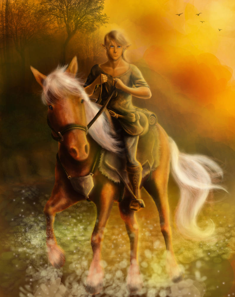 Link and Epona by SageFeathers