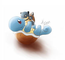 Squirtle with Blastoise plush by RedKyuren