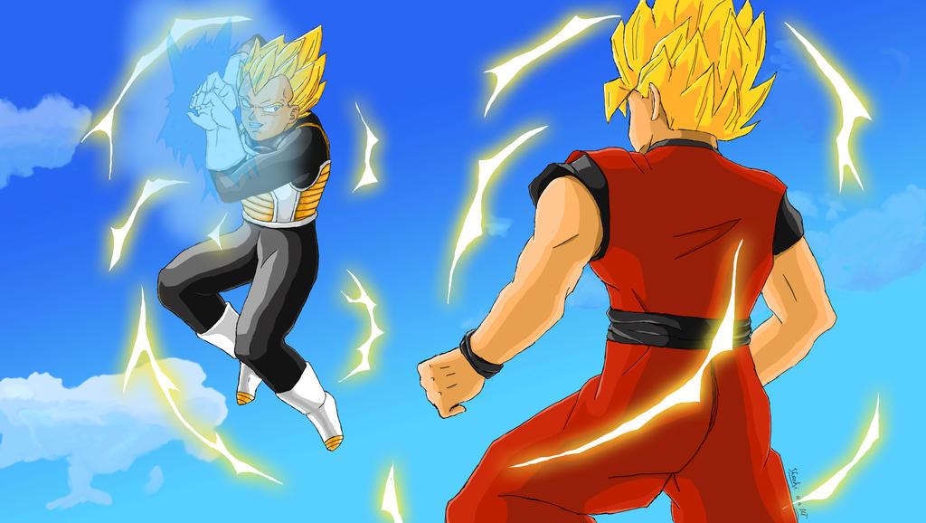 Vegeta Vers Goku by LadyBad
