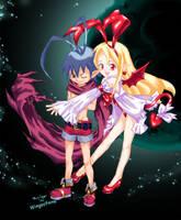 Laharl and Flonne by Wingsofnina