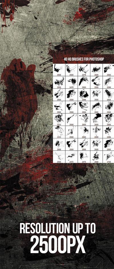 40 Bloody Massacre Photoshop Brushes by env1ro