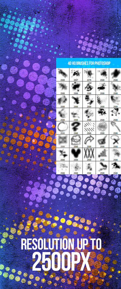 40 Halftone Photoshop Brushes by env1ro