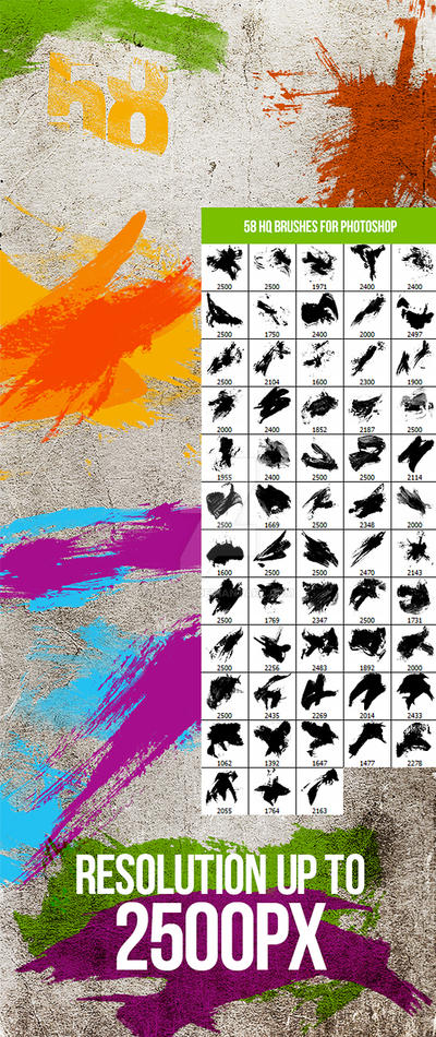 58 Paint Splashes Photoshop Brushes by env1ro
