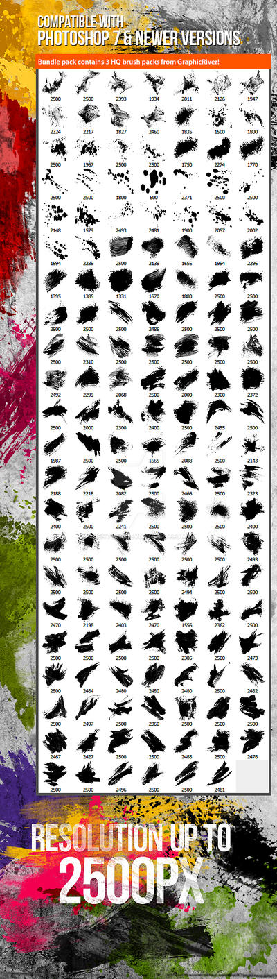 153 Watercolor Paint, Splatter Photoshop Brushes
