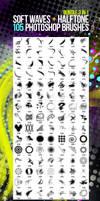 105 Soft Waves + Halftone Photoshop Brushes