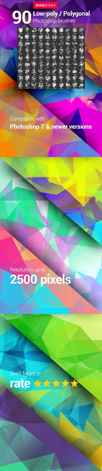 90 Polygonal / Geometrical Photoshop Brushes by env1ro