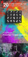 20 Watercolor Splatter Paint Photoshop Brushes
