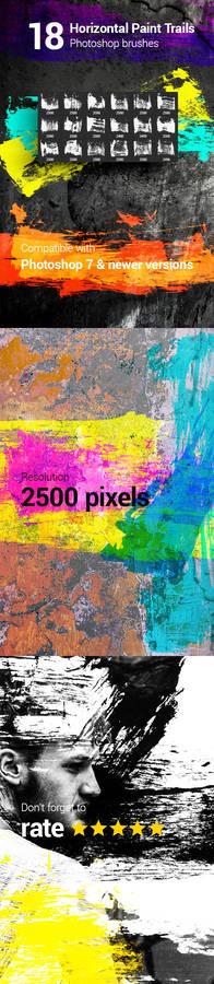 18 Horizontal Paint Trails Photoshop Brushes