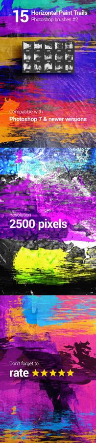 15 Horizontal Paint Trails Photoshop Brushes #2