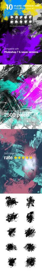 10 Watercolor Splatter Paint Photoshop Brushe