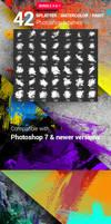 42 Watercolor Splatter Paint Photoshop Brushes Bun