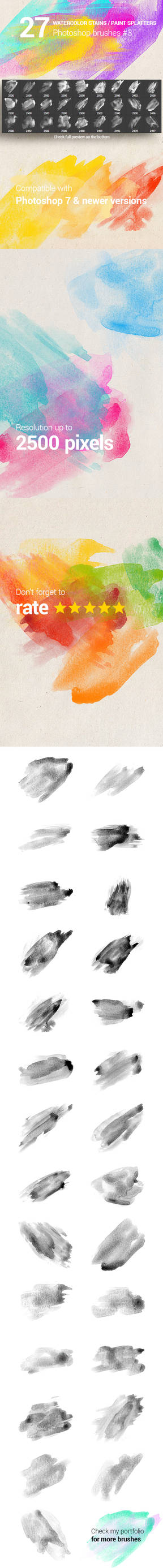 27 Watercolor Paint Stains Photoshop Brushes #3