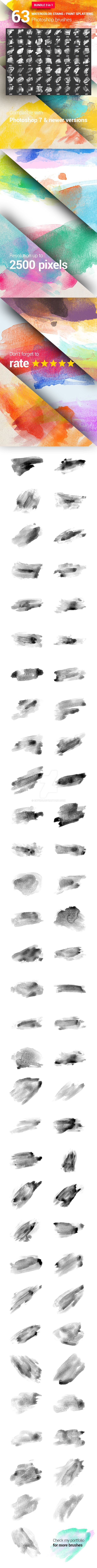 63 Watercolor Paint Stains Photoshop Brushes by env1ro