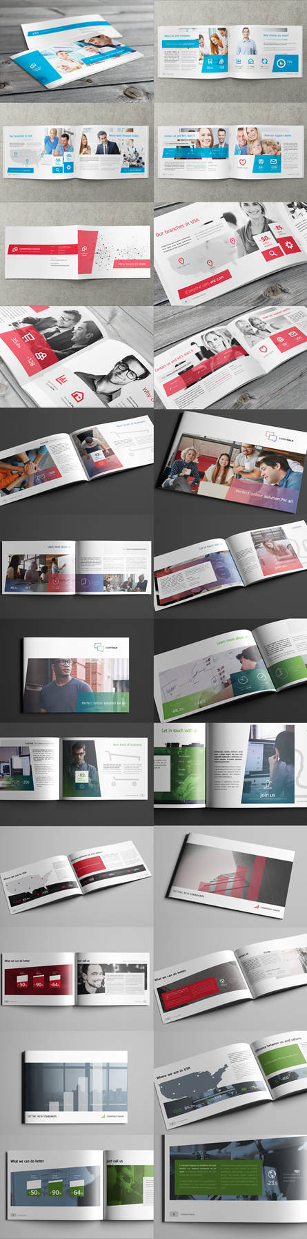 3x Business / Corporate Multi-purpose A4 Brochures