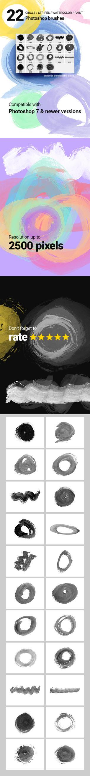 22 Circles Badges Watercolor Photoshop Brushes