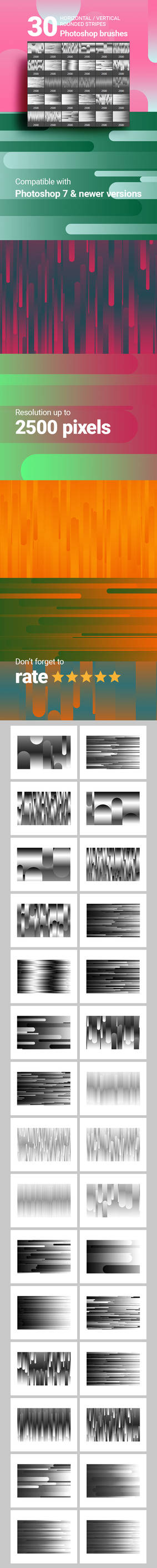 30 Horizontal Vertical Stripes Photoshop Brushes
