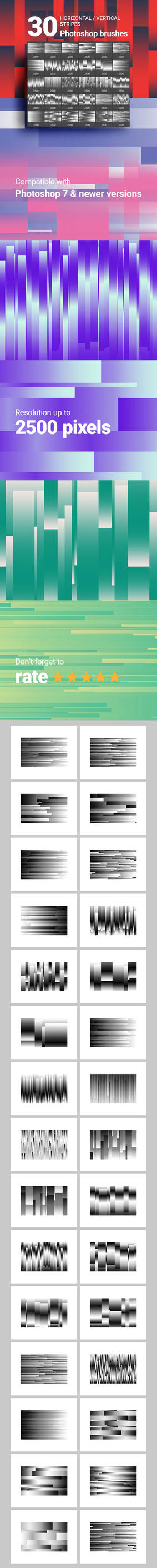 30 Horizontal Vertical Stripes Photoshop Brushes 2