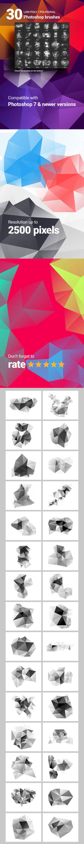 Low-Poly Polygonal Geometrical Photoshop Brushes