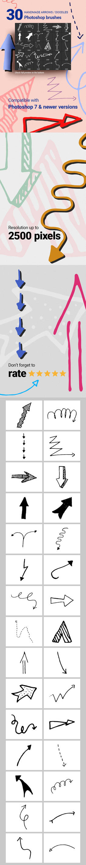 Hand-drawn Arrows Vector Doodles Photoshop Brushes