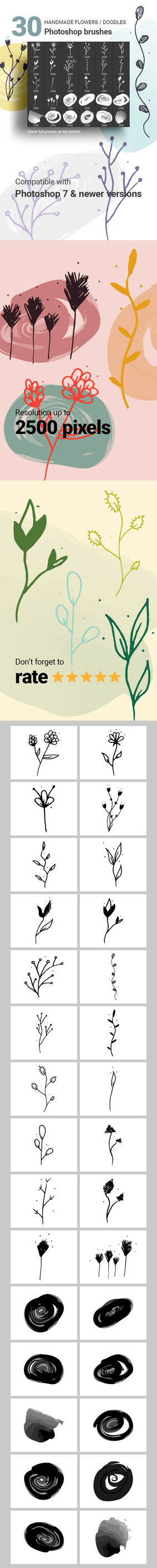 Hand-drawn Flowers Vector Doodle Photoshop Brushes
