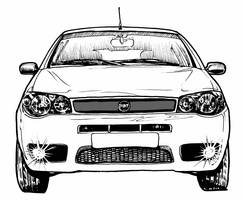 FIAT Palio 1.8R, Front, BW by CRCavazos