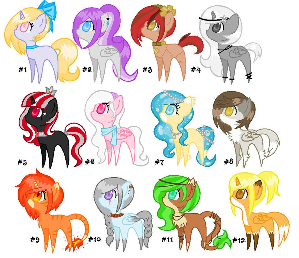 Chibi Pony Adopts Big Batch #1 by DesuPanda-Adopts