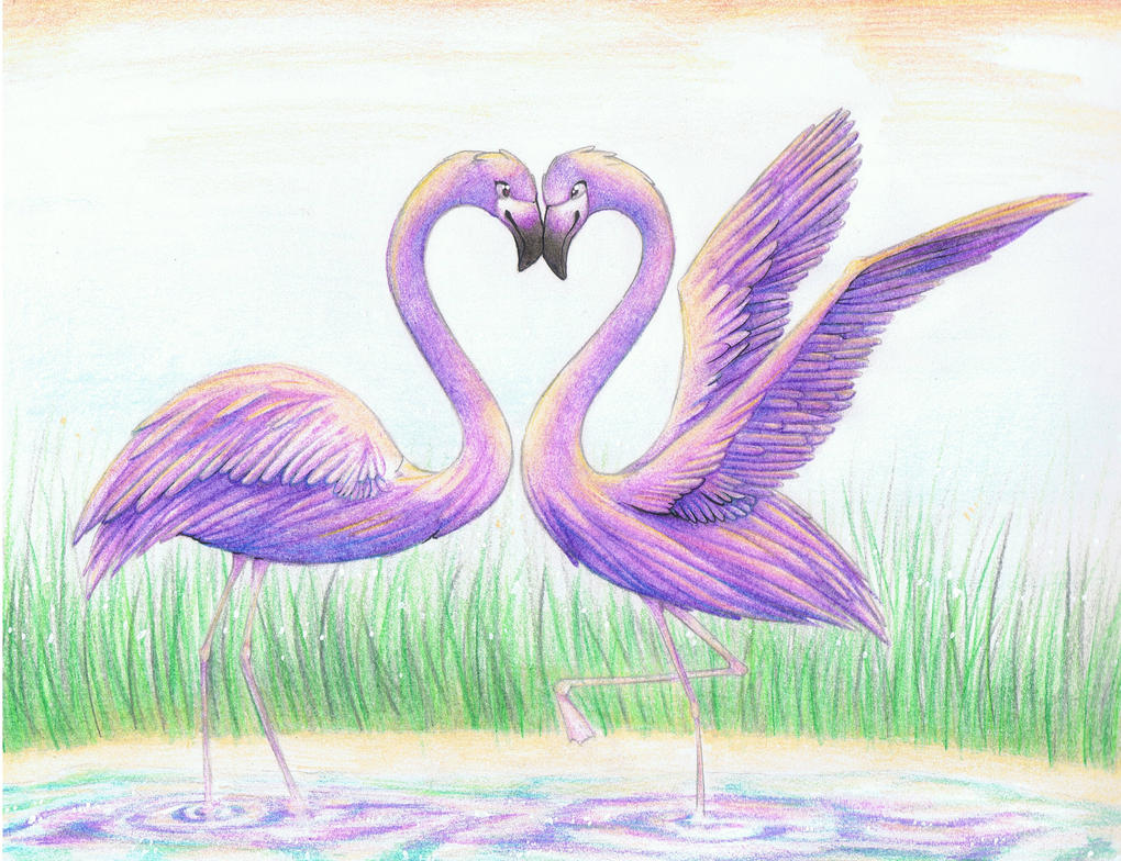 Purple Flamingos by Wickerish on DeviantArt