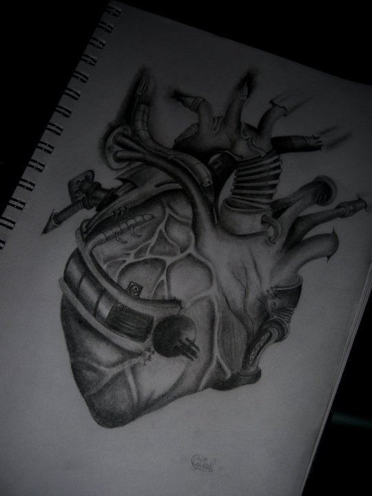 Biomechanical Heart Tattoo Pictures: Biomechanical Heart By Lewiswood23 On DeviantArt