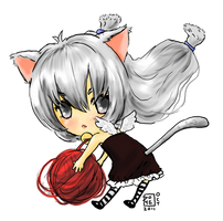 Kitteh girl with yarn by Delight046