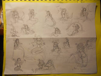 sixteen mermaid doodles by Delight046