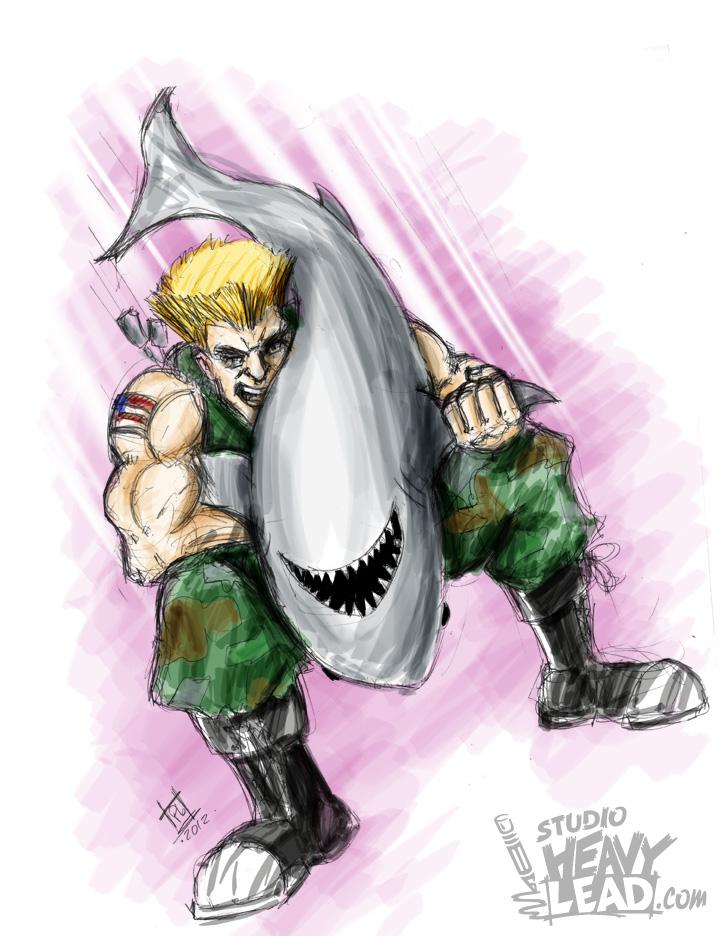 Guile Piledriving A Shark by gaijyn