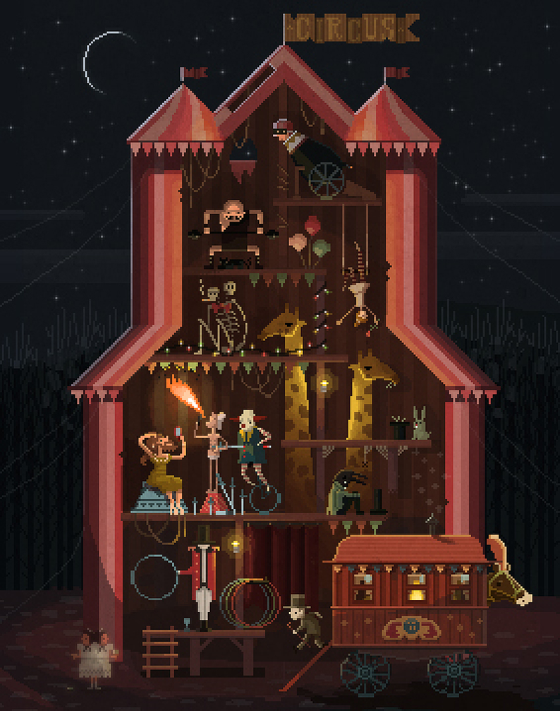 Midnight Carnival Pixel Art by octavinavarro