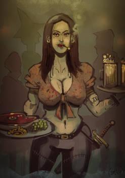 Scarred beauty, a fantasy bar-maid