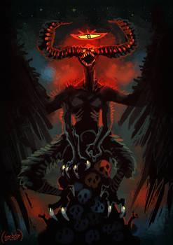 Devil Perching On Skulls