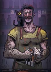 Fantasy hunk: Barman with Cat Sith