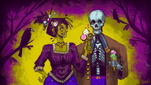 Undead lovers: Skeleton bf and Witch gf
