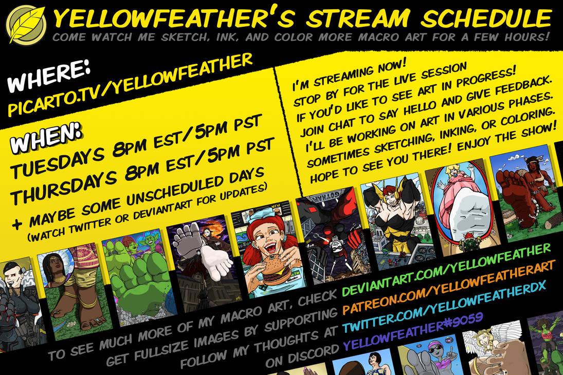 Yellowfeather's Stream Schedule