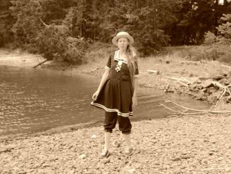 Old time bathing dress - self portrait