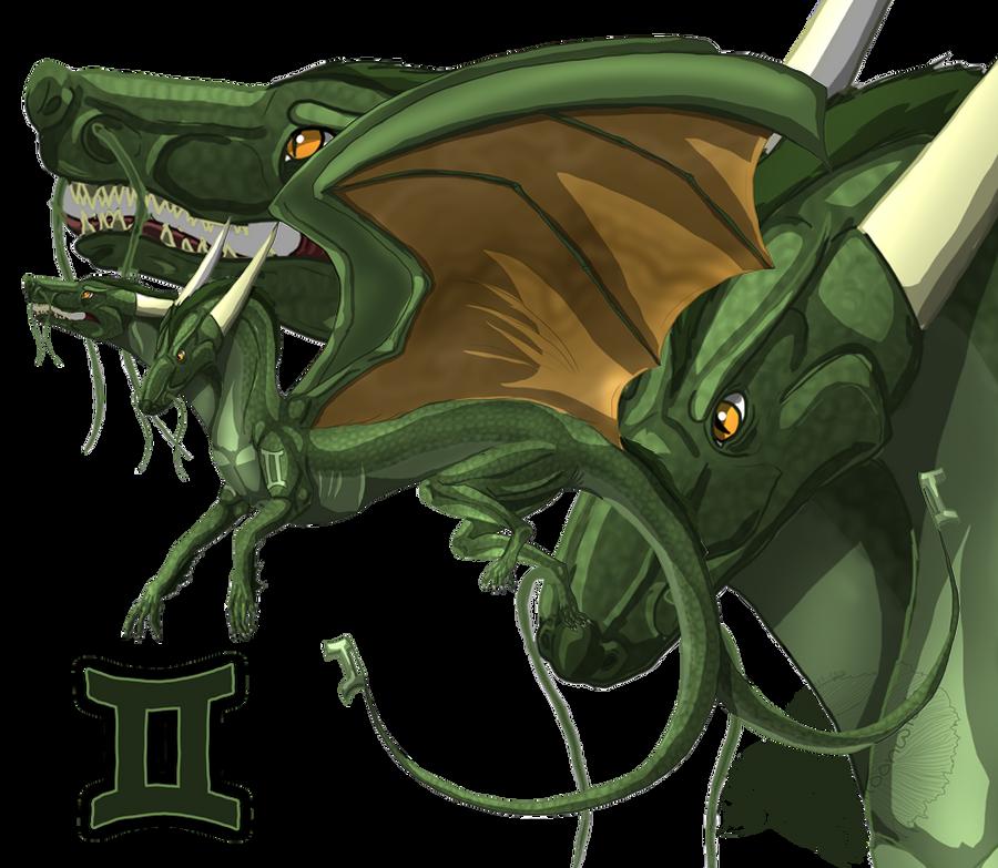 Gemini Zodiac Dragon by xxMoonwish