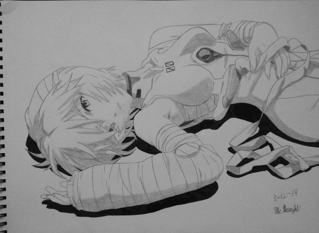 Rei Ayanami Sketch (6) - Neon Genesis Evangelion by AaragonNega