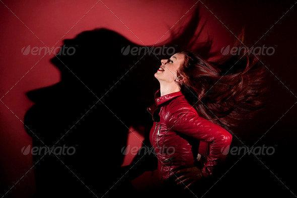 Young Girl Dancing in Red Jacket by Ondrejvasak