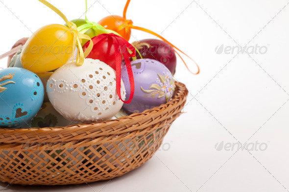 Colorful Easter Eggs in a Basket by Ondrejvasak