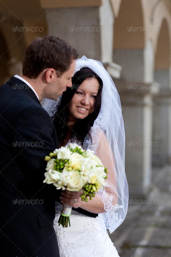 Groom Whispering in the Brides Ear by Ondrejvasak