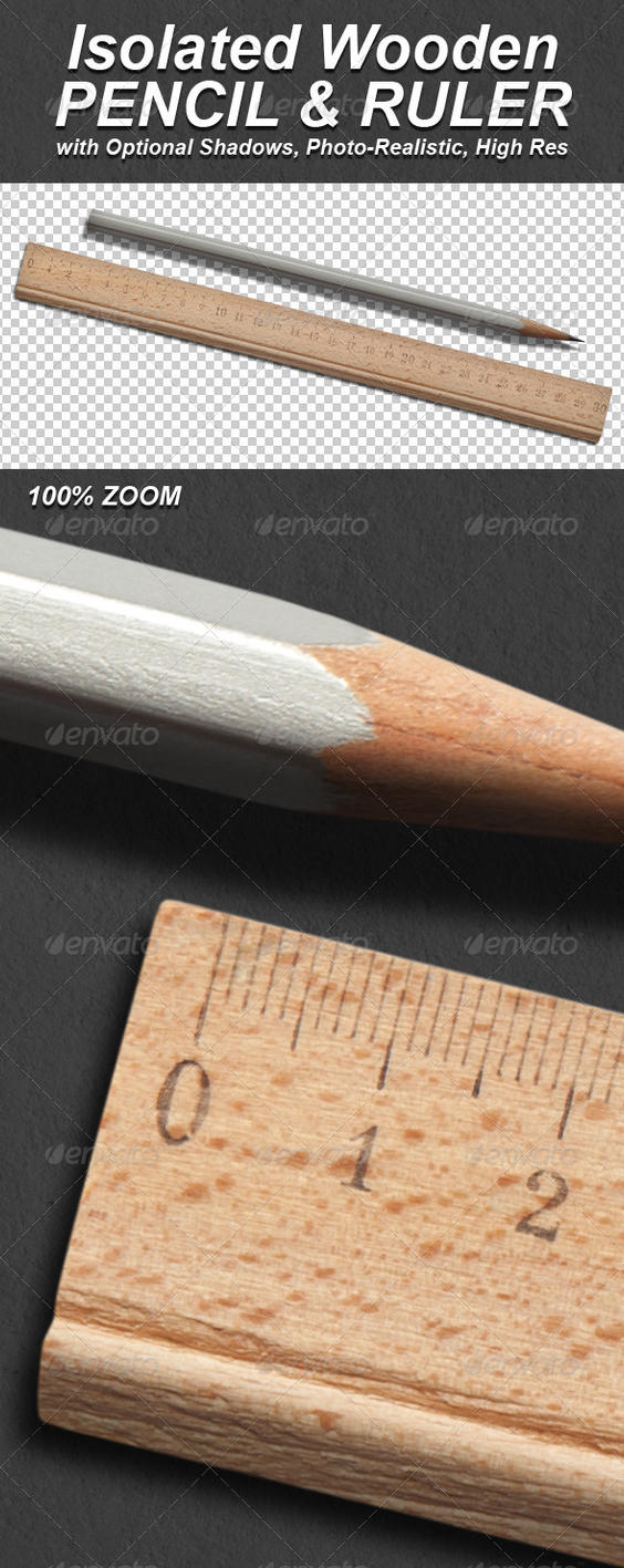 Photo-Realistic Isolated Pencil and Ruler by Ondrejvasak