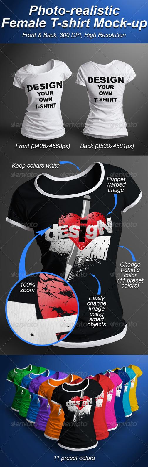 Female T-shirt Mock-up Photorealistic 3D Look by Ondrejvasak
