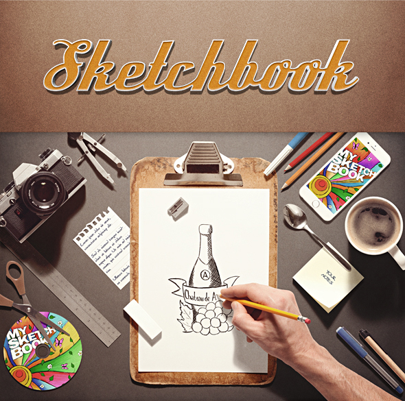 Sketchbook Stationery Scene Creator Mock-up by Ondrejvasak