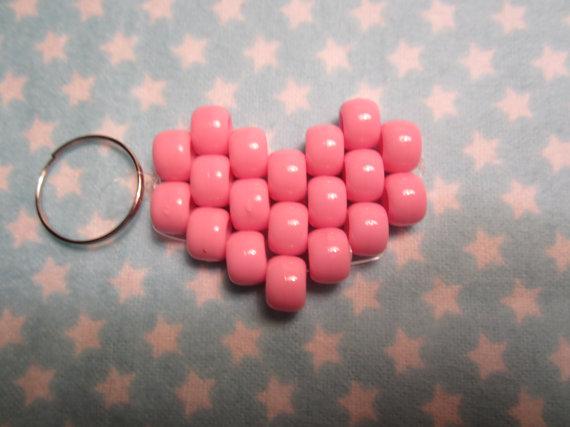 pink heart keychain by amarahedwards on deviantart