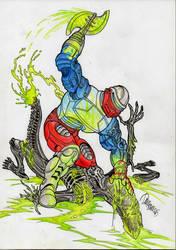 Roboto vs Alien by danbrenus