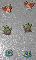 Pokemon Fennekin, Chespin, and Froakie earrings