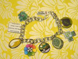 Grass Element Charm Bracelet Custom Pokemon by kouweechi